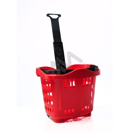 43L Supermarket plastic basket w / wheels