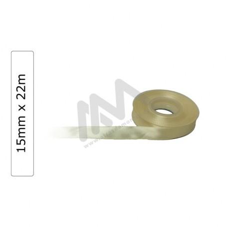 Beige satin wrapping tape 15 mm x 22 m