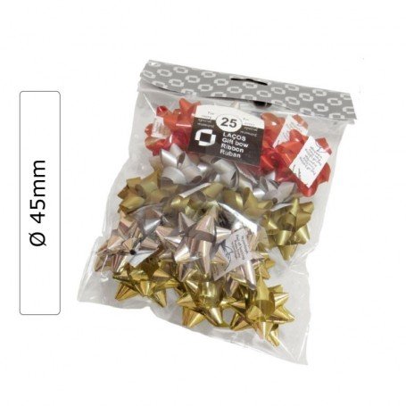 25 Assorted colors RIBBON GIFT TIES Ø 45mm