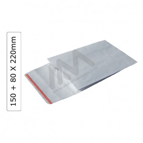 White GIFT ENVELOPES 150+80x220 with adhesive ribbon - 100 units
