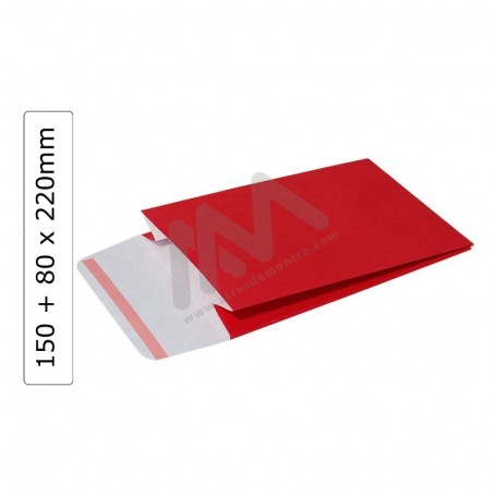 Red GIFT ENVELOPES 150+80x220 with adhesive ribbon - 100 units