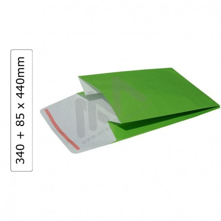 Green GIFT ENVELOPES 340+85x440 with adhesive ribbon - 100 units