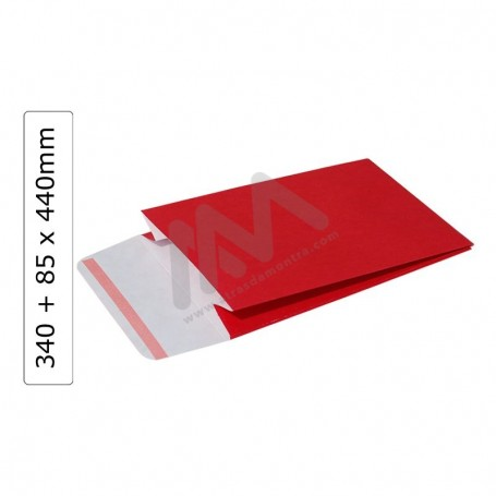 Red GIFT ENVELOPES 340+85x440 with adhesive ribbon - 100 units