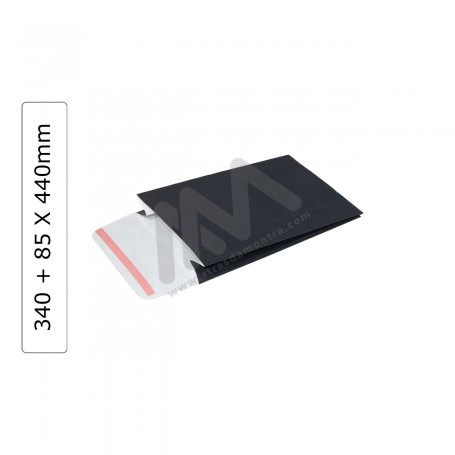 Envelopes Preto 340+85x440mm - Pack 100 uni.