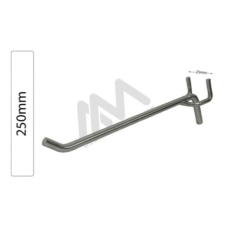 Chromed hook for perforated Panel 250mm