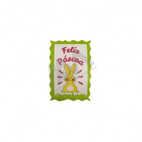 "Roll with 200 wrapping labels ""Feliz Páscoa"""