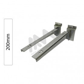 Slatwall Chromed shelf support pair 200mm