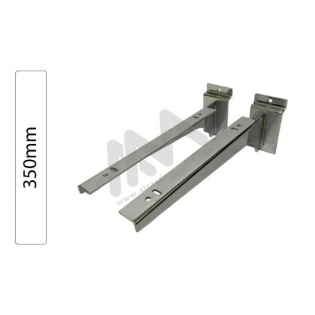 Slatwall Chromed shelf support pair 350mm