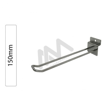 Slatwall panel double chromed hook 150mm