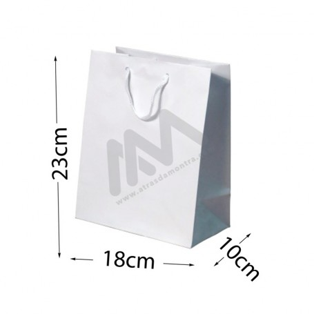 White Rope Handle Paper Bag 160 g/m² 18x23x10 - 12 units