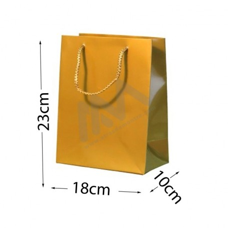 Gold Rope Handle Paper Bag 210 g/m² 18x23x10 - 12 units