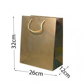 Gold Rope Handle Paper Bag 160 g/m² 26x32x12 - 12 units