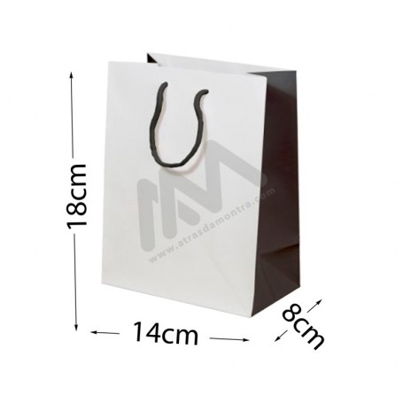 White / Black Rope Handle Paper Bag 160 g/m² 14x18x8 - 12 units