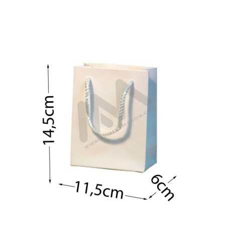 White Rope Handle Paper Bag 160 g/m²  11,5x14,5x6 - 300 UN