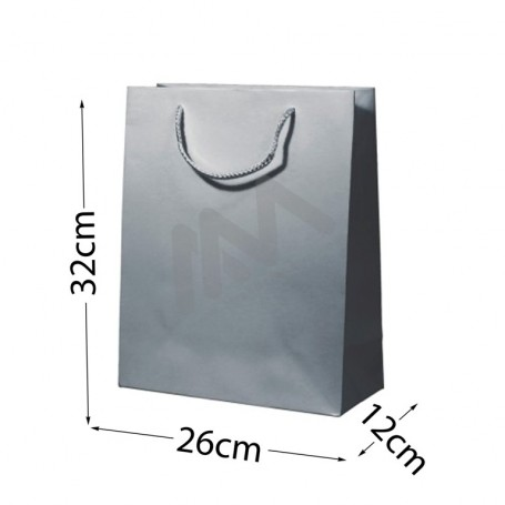 Silver Rope Handle Paper Bag 210 g/m² 26x32x12- 144 UN