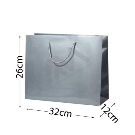 Silver Rope Handle Paper Bag 210 g/m² 32x26x12- 144 UN