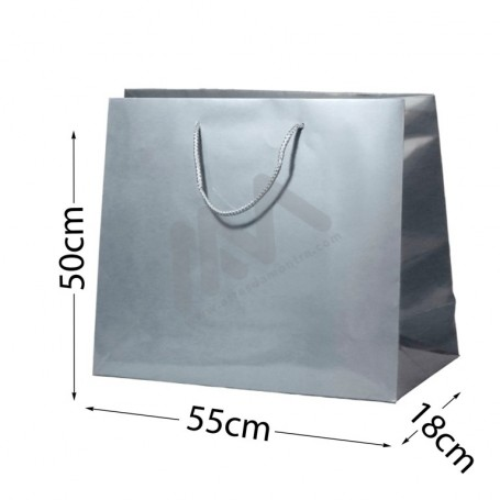 Silver Rope Handle Paper Bag 210 g/m² 55x50x18 - 72 UN