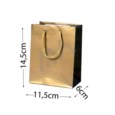 Gold Rope Handle Paper Bag 160 g/m²  11,5x14,5x6 - 300 UN