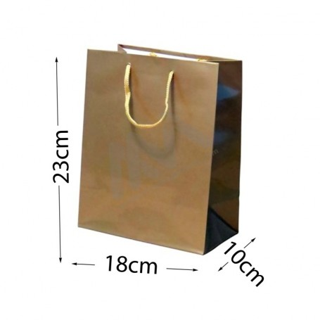 Gold Rope Handle Paper Bag 160 g/m² 18x23x10- 300 UN