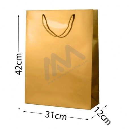 Gold Rope Handle Paper Bag 210 g/m² 31x42x12- 144 UN
