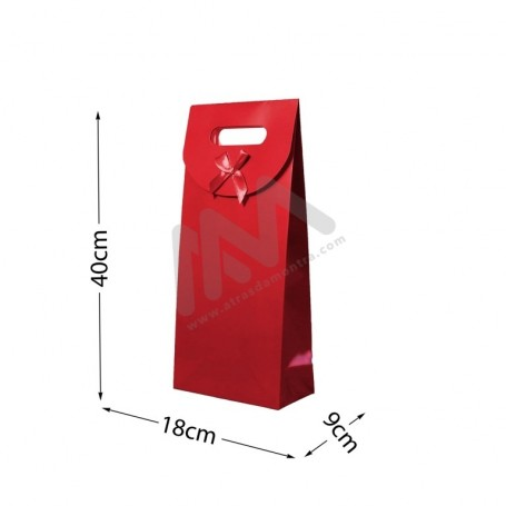 Red Punched handle Paper Bag 210 g/m² 18x40x9 - 144