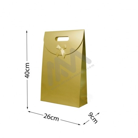 Gold Punched handle Paper Bag 210 g/m² 26x40x9 - 144