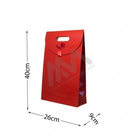 Red Punched handle Paper Bag 210 g/m² 26x40x9 - 144 UN