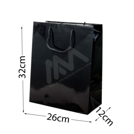 Black Rope Handle Paper Bag 160 g/m² 26x32x12 - 300 UN