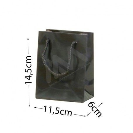 Black Rope Handle Paper Bag 210 g/m²  11,5x14,5x6 - 300 UN