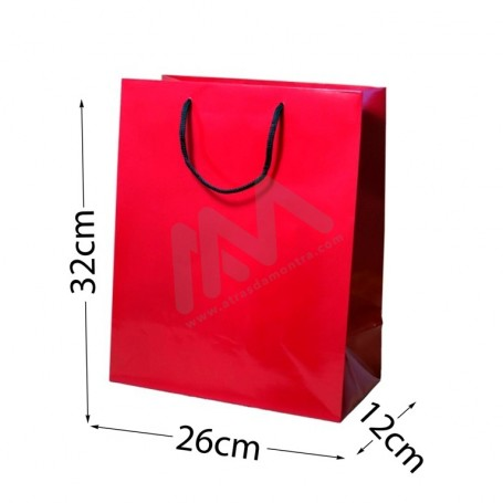Red Rope Handle Paper Bag 160 g/m² 26x32x12 - 300 UN