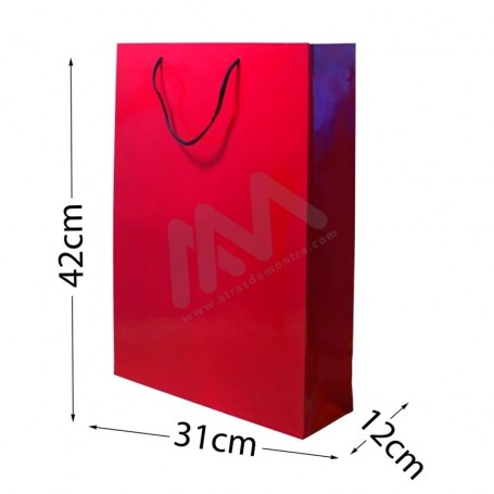 Red Rope Handle Paper Bag 160 g/m² 31x42x12 - 300 UN