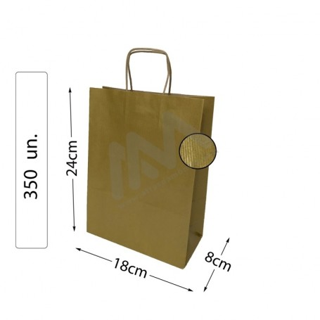 Box 350 Kraft Gold Twisted Handle paper bags 18x24x8