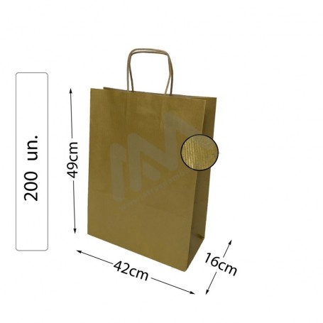 Box 200 Kraft Gold Twisted Handle paper bags 42x49x16