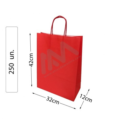box 250 Red Paper Bags 32x42x12