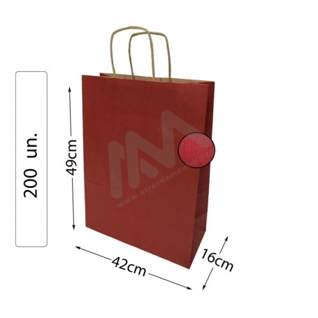 Box 200 Red Paper Bags 42x49x16