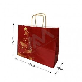 Twisted wing paper bags Christmas 28x22x10 Pack of 25 Uni