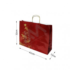 Twisted wing paper bags Christmas 41x32x12 Pack of 25 Uni