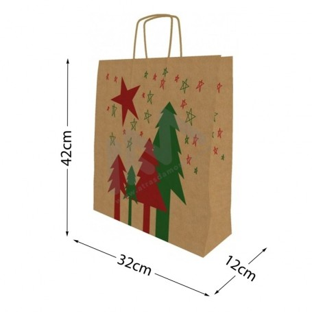Twisted wing paper bags Christmas 32x42x12 Pack of 25 Uni