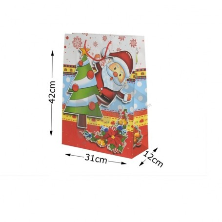 Christmas ROPE HANDLE PAPER BAG 31x42x12- 12 UNITS