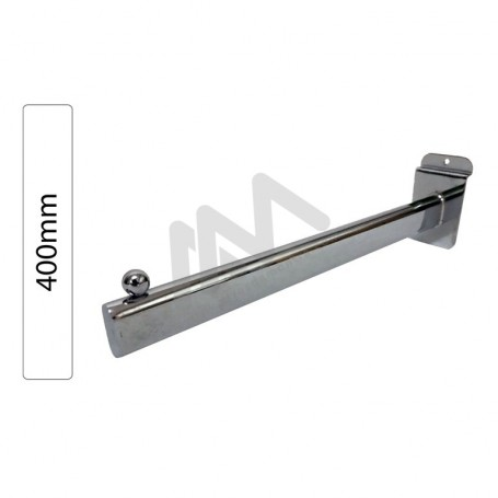 Slatwall Chromed Support  for hangers 1 ball 400mm