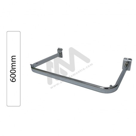 Slatwall Chromed bar for hangers 600mm