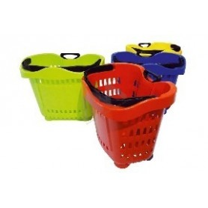 Cesto supermercado plástico c/ rodas 43L